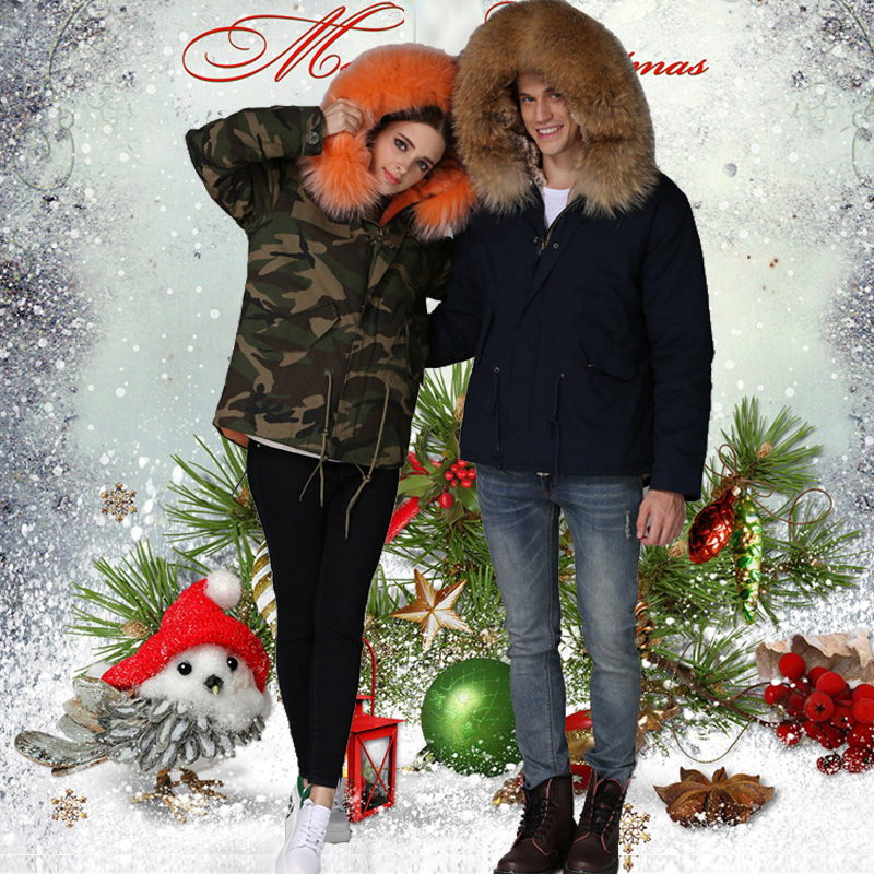 2016 Top Factory selling ladies camouflage fur parka for unisex wear, orange fur lined