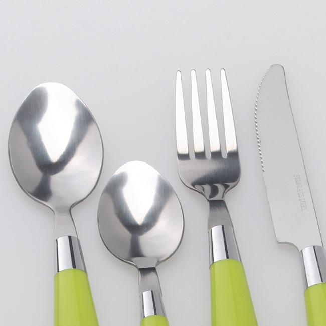 Personnalisé En Plastique Poignée Cuillère Couteau 24 Pcs Couverts Ensemble