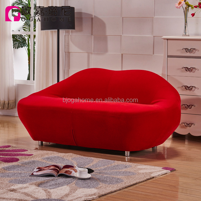 Home Room Love Seat Red Lip Shaped Fabric Leisure Sofa