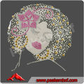 Beautiful Afro lady Rhinestone Transfer Design Iron On Hot Fix Heat Transfer Motif Bling