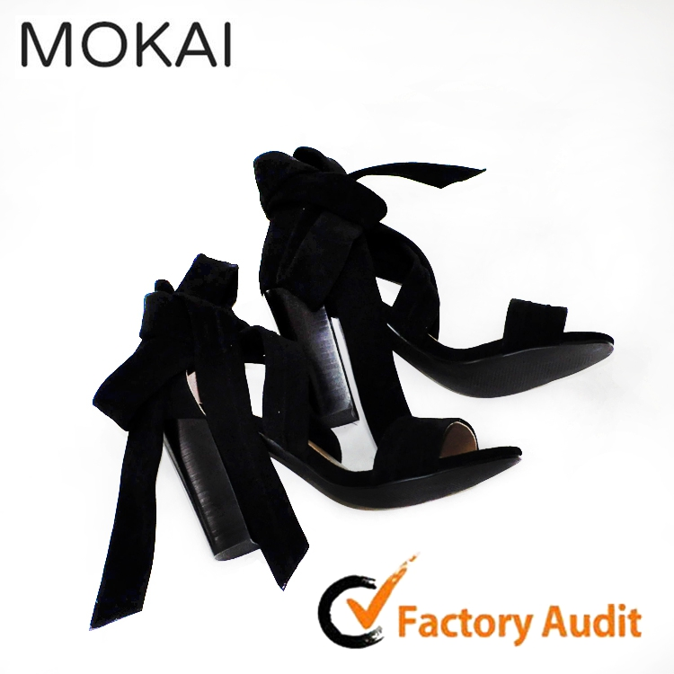 Suede leather chunky heel latest ladies sandals designs new model women sandals