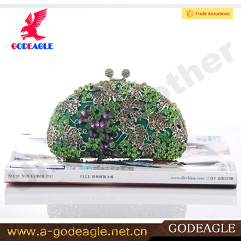 Crystal Material and Clutch Style green stone clutch purse