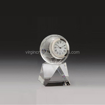 Unique personalized crystal glass globe ball clock business trophy with clock
