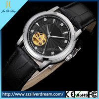 2014 Alibaba China Manufacturer Sapphire Glass 5ATM Water Resistant Genuine Leather Simple Vogue Watch