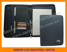 High quality A4 zip pu leather portfolio folder with card holder and notepad office supplies