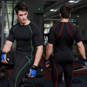 Fitness clothes men running training Sports Wear elastic compression speed drying sports clothing Dri Fit T Shirts