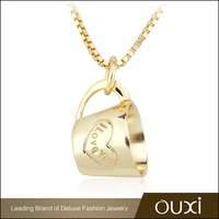 OUXI fashion design 18k gold plated necklace jewelry for gift Y10036