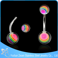 Multi-colour ball banana piercing wholesaler surgical steel 100 nickel free navel ring