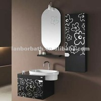 Fashional glass makeup complete bathroom mirror cabinet sets with shelf cabinet and light FS054
