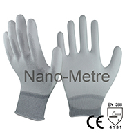 NMSAFETY 13 gauge knitted coated grey pu protective work gloves