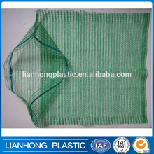 Green color PE raschel mesh bag for eggplant, onion, pepper packing, Bio-degradable and cheap mesh bag manufacturer