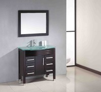 Cheap Vintage Furniture Wood Bathroom Cabinet with Glass Basins