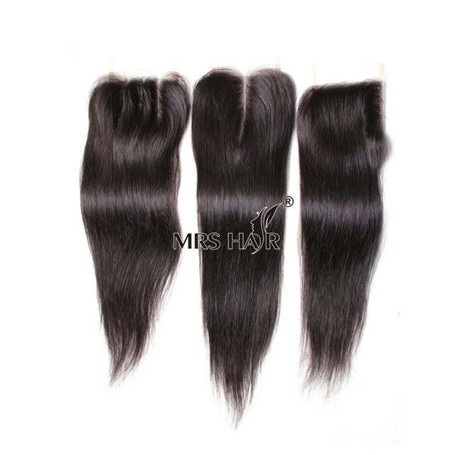 New Arrival Lace Closures Virgin Brazilian Human Hair 4*4 Natural/Body/Curly/Deep/Straight/Loose Weaves Lace Wig Closure