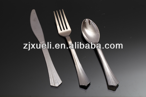 Silver plastic cutlery sets, different types of table setting, china cutlery