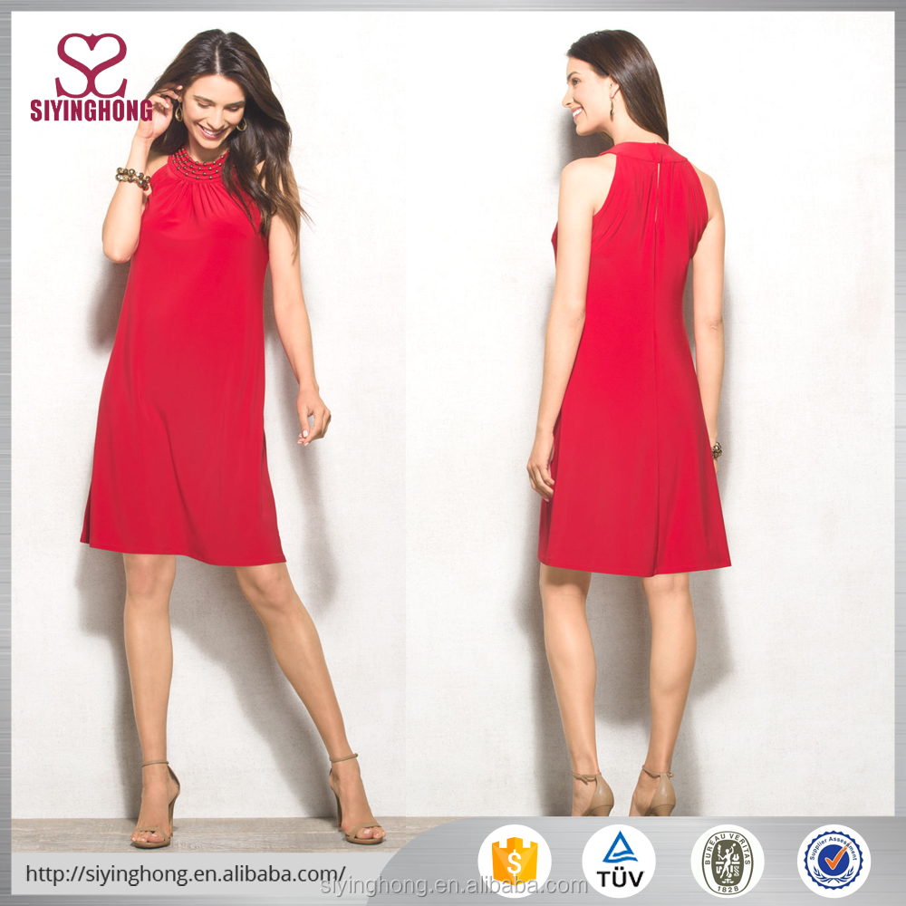 2016 fashion latest new arrival pure color red color sleeveless women dresses