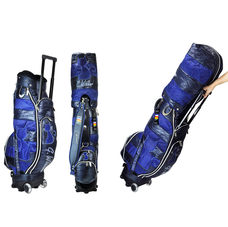 Factory wholesale OEM fashionable waterproof golf travel bag with wheels