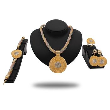 New Necklace Jewelry African Beads Earrings Wedding Jewelry Set