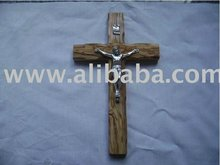 Decorative Hand Carved Olive Wood Religious Cross