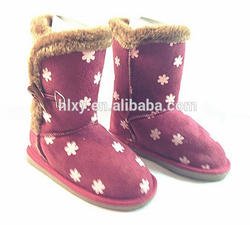 Modern and warm printed white flower claret winter ladies snow half boots with button