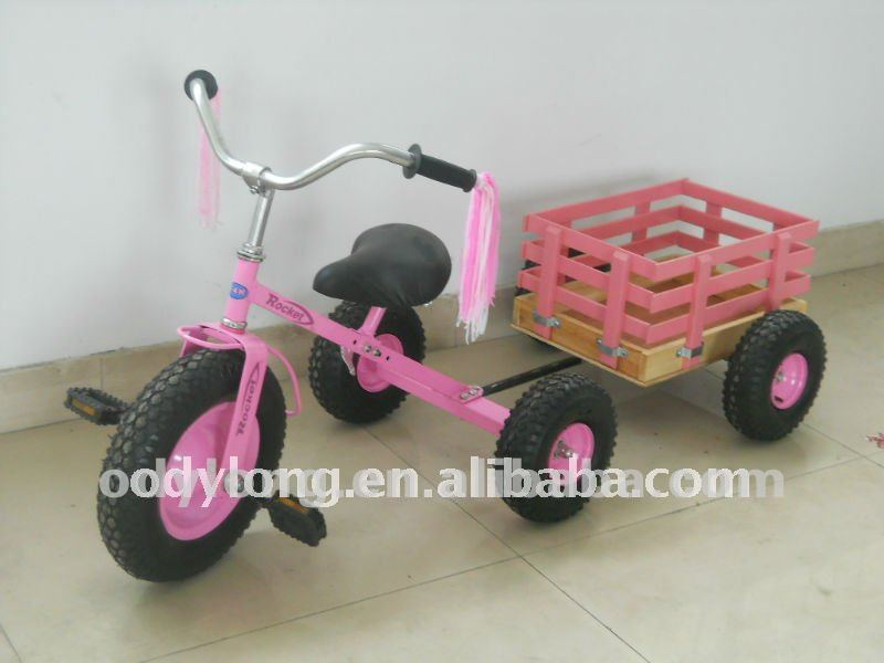 New design tricycle with wooden trail car