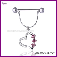 Surgical Steel Gold Body Jewelry 14g Nipple Chain Piercing