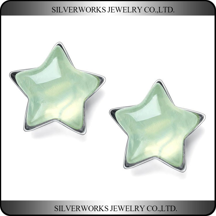 925 Sterling Silver Transparent Pentacle Grape Stone Stud Earrings