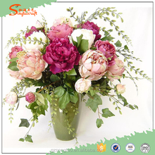 Hot Selling Man-made Plastic Artificial Peony Silk Flowers for Decoration