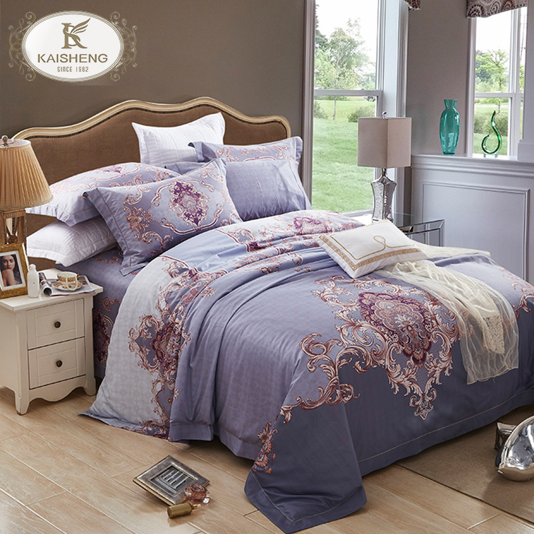 Elegant European Style 4pcs 400TC Pima Cotton Printing Fitted Bed Sheet
