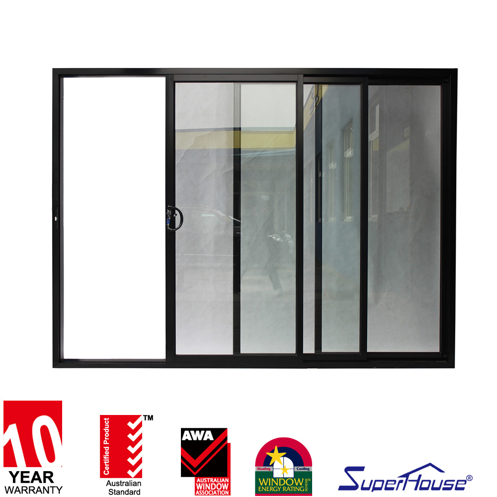 AS2047&CSA aluminum frame double glazed design 3 panel sliding glass door