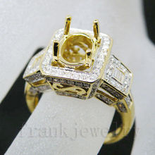 Exquisite Oval Cut 7x9mm 18kt Yellow Gold Baguette Diamond Semi Mount Engagement Wedding Ring Jewelry Wholesale SR0071