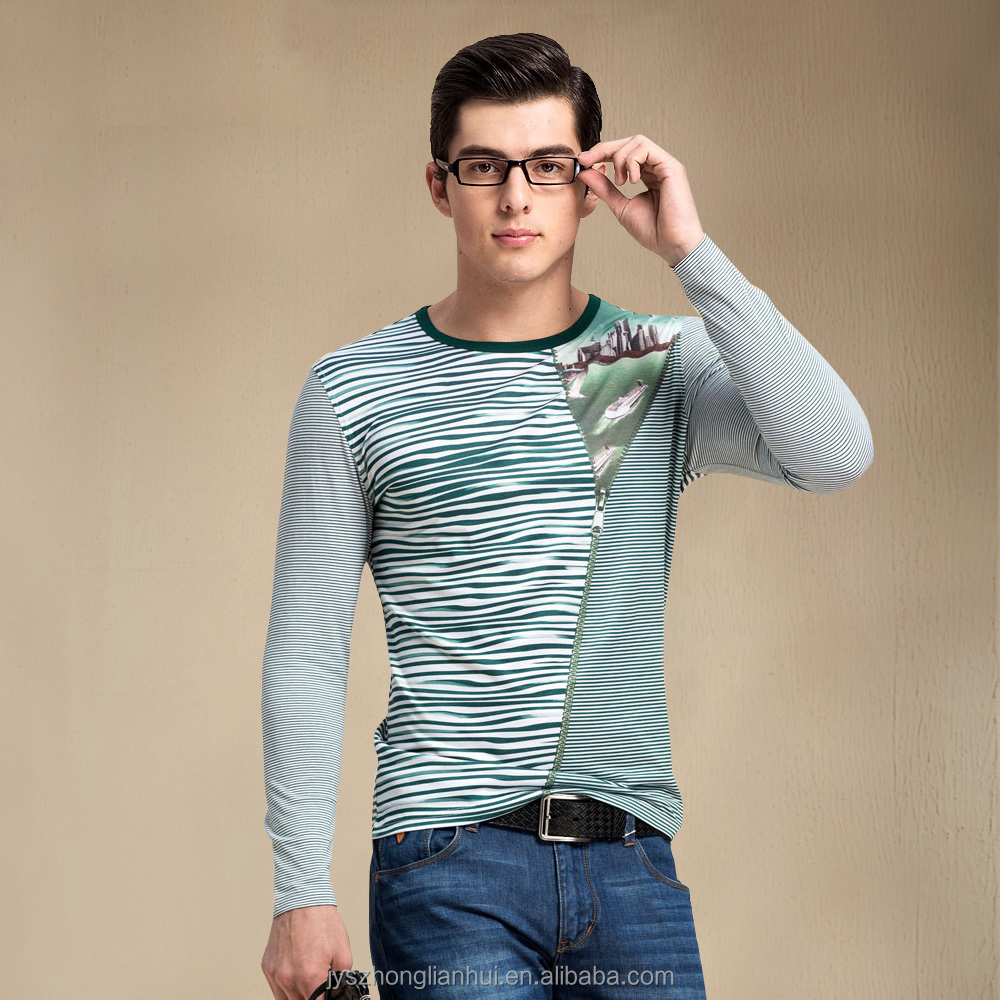 Men's hottest sale green long sleeve t-shirts with round-neck