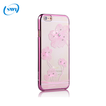 Electroplate Plastic PC Transparent Case For Apple iPhone 6 6S,Cell Phone PC Diamond Back Case Cover for iPhone 6 6s