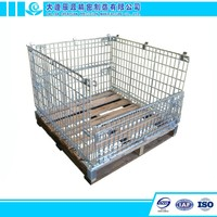 Foldable Steel Wire Galvanized Mesh Pallet Cage Box