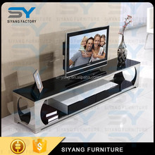 New design metal granite fireplace high gloss tempered glass tv stand DS005