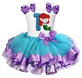 Blue Lavender Satin Trimmed Tutu with Number 1 - 6 Mermaid White Tank Top