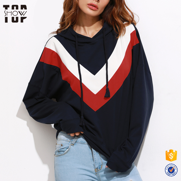 High quality 3 tone hoodies wholesale lady chevron pattern custom hoodie printing for women