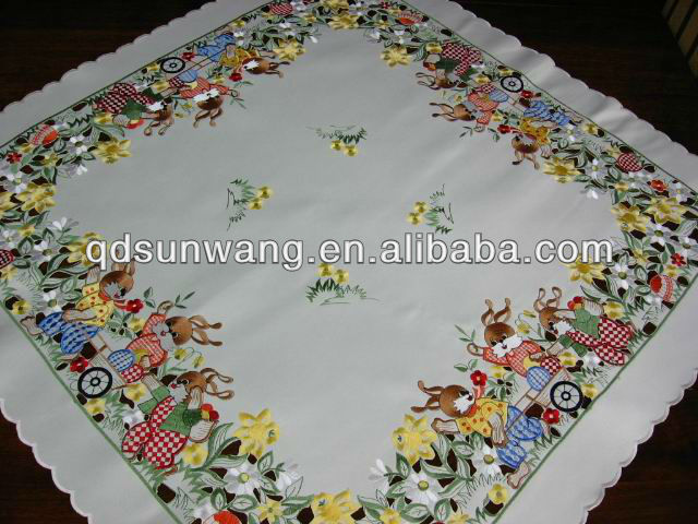 cutwork and embroidered easter tablecloth