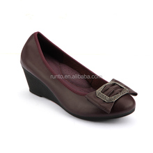Professional handmade rubber outsole microfiber lining soft leather casual shoes elegant wedge heel shoes for women