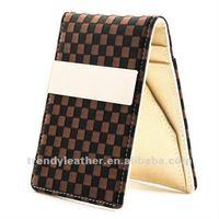 Brown Checker Pattern money clip credit card holder