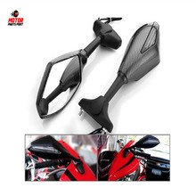 Carbon fiber led motorcycle mirrors with turn signals indicator for Harley Kawasaki Yamaha Sports