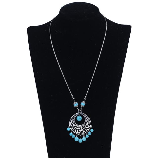 New design bead jewelry national wind gem beaded tassel necklace