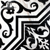 Black and white wave pattern Waterjet laminated Marble inlay Floor Medallion