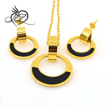 Wholesale High Polish Gold circle Charm Custom Stainless Steel Pendant Earrings Set