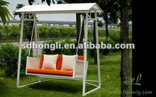 2 person swing bed with canopy or steel tube frame chair