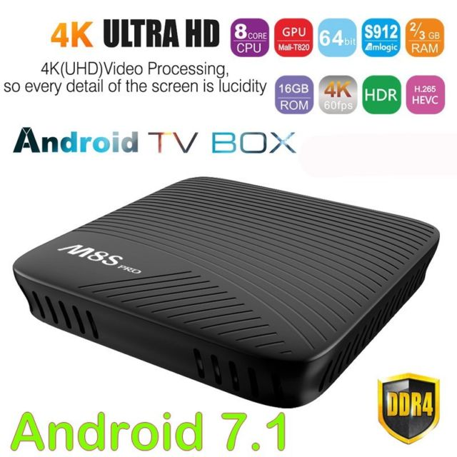 Online shop china Android 7.1 Amlogic S912 64 bit Octa core 2G 16G 4K Google Streaming Media Player TV Box with kodi <strong>17</strong>