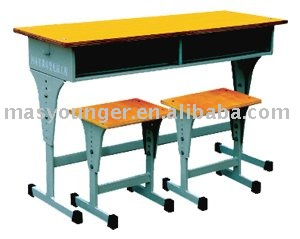 Exquisite design stainless steel/wooden high school desk and chair