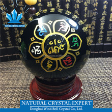 Natural Obsidian Crystal Ball Carved Heart Sutra And Tibetan Om Mani Pedme Hong