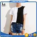 Chinese clothing manufacturers colorblock crew neck casual t shirt two-tone plain color t shirt