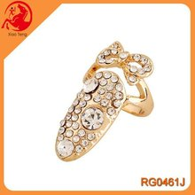Wholesale Fashion Jewelry Alloy Plated Gold Bling Paved Crystal Bowknot Nail Tip Adjustable Ring For Women Friend Gift