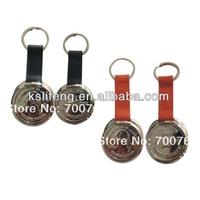 leather keychains with custom coins for souvenir